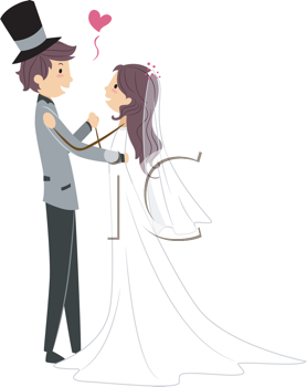 Royalty Free Clipart Image of Newlyweds Dancing