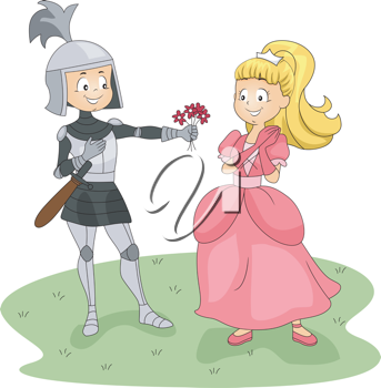 Illustration of a Knight Giving Flowers to a Princess