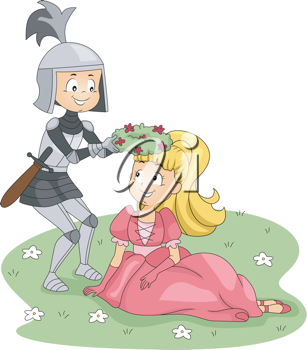 Illustration of a Knight Placing a Crown of Flowers on a Princess