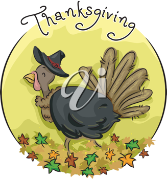 Icon Illustration Featuring a Turkey Wearing a Pilgrim Hat
