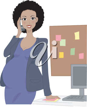 Illustration of a Pregnant Office Worker Talking on the Phone
