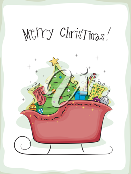 Christmas Card Design Featuring a Sled Full of Gifts