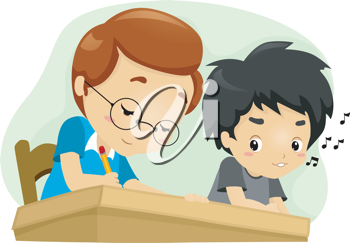 Illustration of a Kid Glancing at His Seatmate's Answer