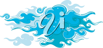 Royalty Free Clipart Image of Swirly Clouds With Stars