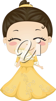 Royalty Free Clipart Image of a Philippine Girl in Traditional Dress