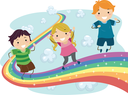 Royalty Free Clipart Image of Children on a Rainbow