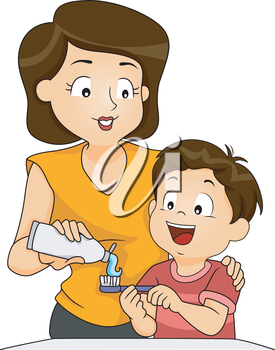 Illustration of a Mother Teaching Her Son How to Brush His Teeth