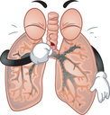 Mascot Illustration of the Lungs Coughing Violently