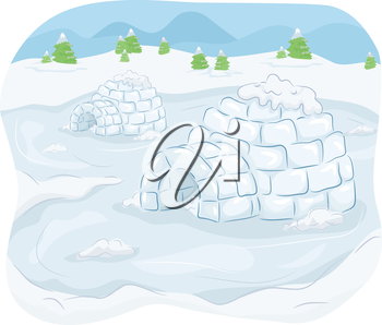 Illustration of Igloos Situated in the Middle of an Isolated Community