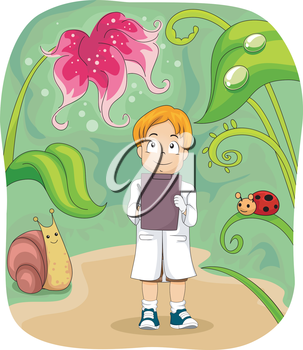 Illustration of a Little Biologist Taking Down Notes
