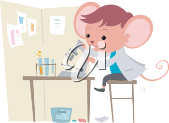 Illustration of a Cute Mouse Observing Things Under a Microscope