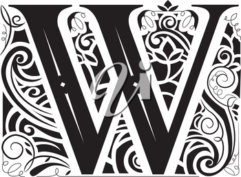 Illustration of a Vintage Monogram Featuring the Letter W