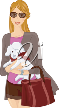 Illustration of a Girl Carrying a Poodle in Her Arms