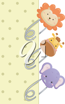 Illustration of Safety Pins Decorated with Replicas of Safari Animals
