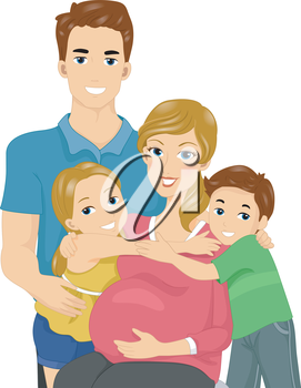 Illustration of a Happy Family Expecting Another Child