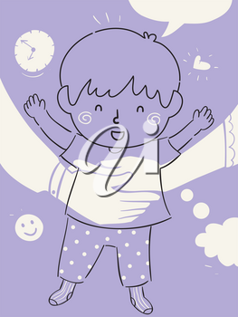 Illustration of a Kid Boy Doodle with Arm of Mother and Father Hugging Him