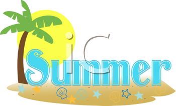 Royalty Free Clipart Image of Seasonal Summer Type With a Beach Scene and Sunset Background
