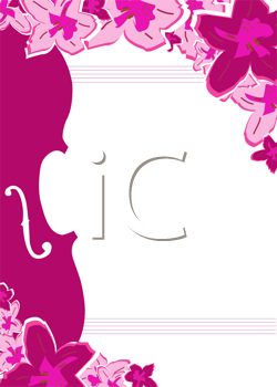 Royalty Free Clipart Image of a Floral Template With an Instrument