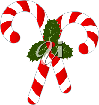 Royalty Free Clipart Image of Crossed Candy Canes