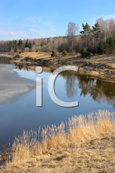 Royalty Free Photo of Ice Receding on a Lake in Spring