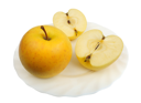 Royalty Free Photo of Yellow Apples on a Plate