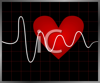 Royalty Free Clipart Image of a Heartbeat Background
