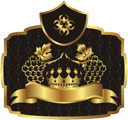 Illustration gold label with grapevine with crown - vector