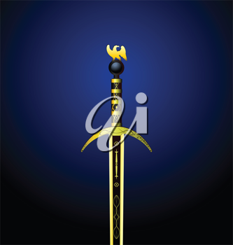 Illustration of a magic gold sword with an eagle on a hilt - vector