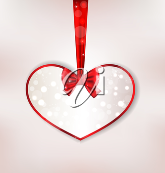 Illustration card heart shaped with silk bow for Valentine Day - vector