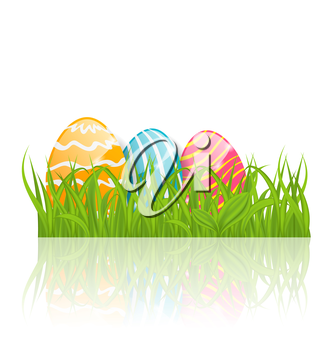Illustration Easter background with paschal ornamental eggs  - vector