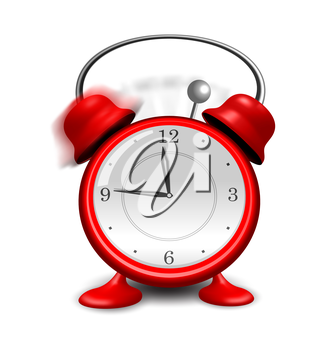 Illustration red alarm clock close up, isolated on white background - vector