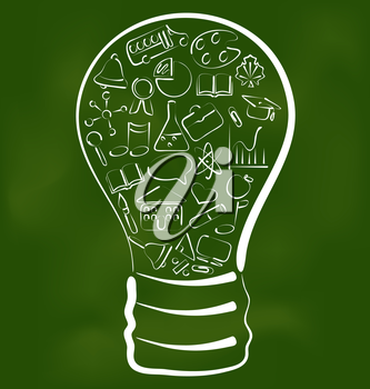 Illustration concept of bulb with set school icons - vector