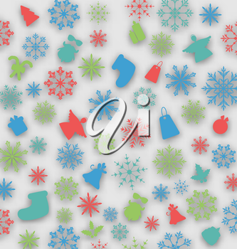 Illustration Christmas cover with traditional elements - vector