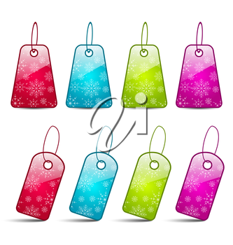 Illustration set multicolored tags isolated on white background - vector