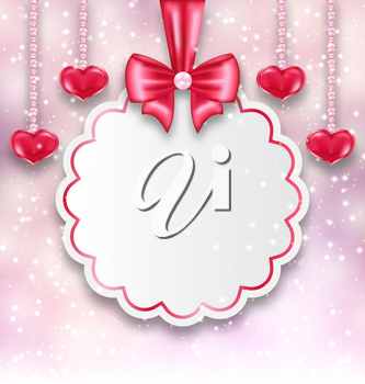 Illustration shimmering background with celebration paper card and hanging hearts for Valentine Day - vector