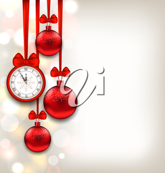 Illustration New Year Shimmering Background with Clock and Glass Balls - Vector