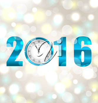 Illustration Happy New Year 2016, Midnight Shimmering Background with Clock  - Vector