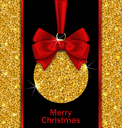 Illustration Glitter Card with Christmas Ball with Golden Surface and Twinkle, Dark Glowing Background - Vector