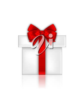Illustration Gift Box with Red Bow Isolated on White Background - Vector