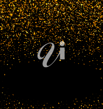 Gold glitter falling confetti on a black background. Golden grainy abstract texture on a black background. Design element - Vector