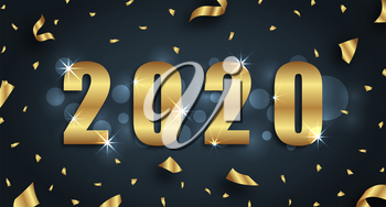 Golden Greeting Background for Happy New Year 2020 with Confetti - Illustration Vector