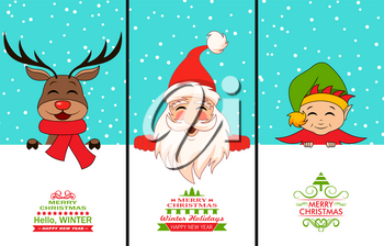 Cheerful Santa Claus, Christmas Deer, Baby Elf. Cartoon Characters with Celebration Cards - Illustration Vector