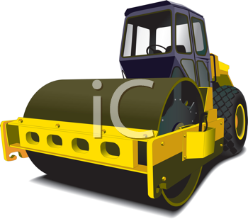 Royalty Free Clipart Image of a Steamroller