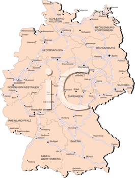 Royalty Free Clipart Image of a Map of Germany and Its Provinces