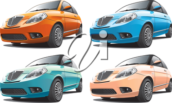 Detailed image of smart modern car isolated on white background, executed in four color variants. File contains gradients. No blends and strokes.