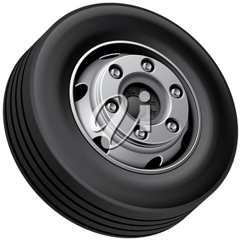 High quality vector illustration of typical light truck fore wheel, isolated on white background. File contains gradients, blends and transparency. No strokes.