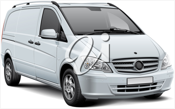 High quality vector illustration of white European light delivery vehicle, isolated on white background. File contains gradients, blends and transparency. No strokes. Easily edit: file is divided into logical layers and groups.