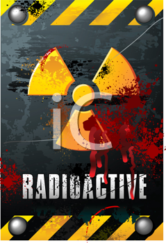 Royalty Free Clipart Image of a Radioactivity Sign on Brushed Metal Plate With Blood Splats
