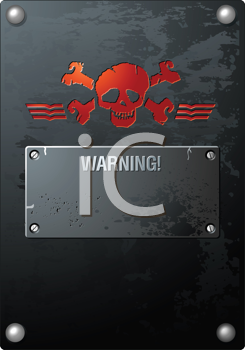 Royalty Free Clipart Image of a Red Skull on Brushed Grunge Banner