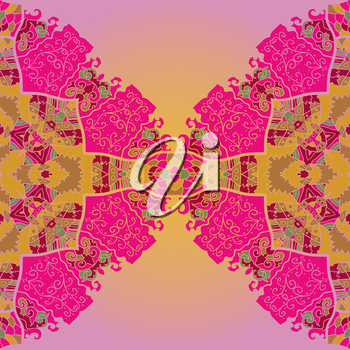 Oriental mandala motif half-round lase pattern on the pink background, like snowflake or mehndi paint in red and blue